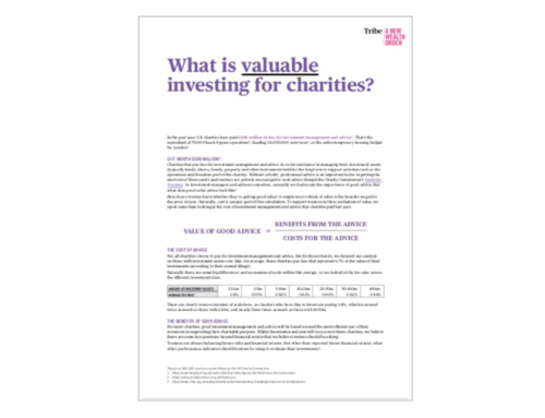 What is valuable investing for charities?